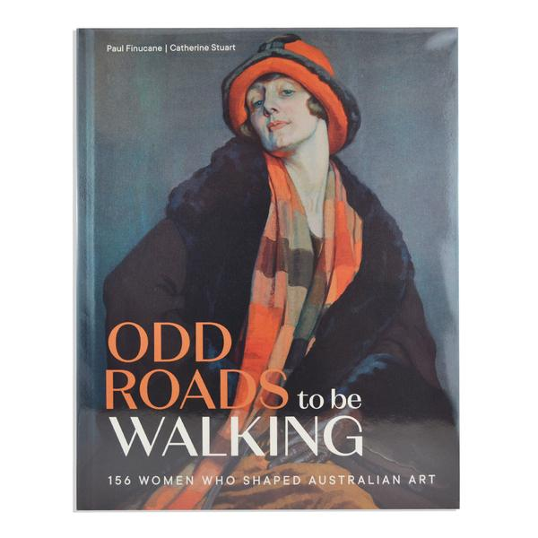 Oil painting 1920's woman in coat, hat, gloves and orange check scarf.