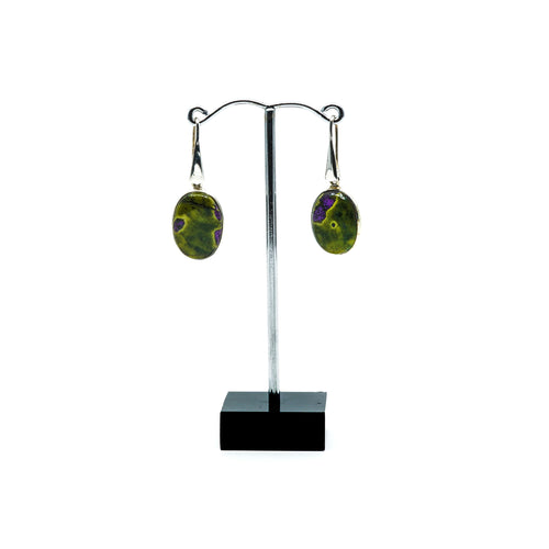 Green serpentine with purple stichtite oval shaped silver drop earrings.s