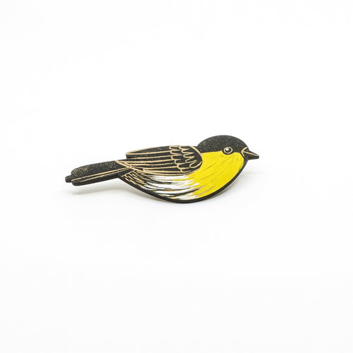 Yellow breasted painted wooden bird brooch.
