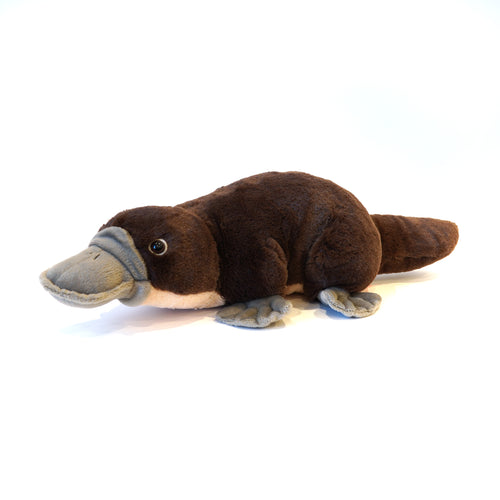 Plush brown platypus with grey bill.