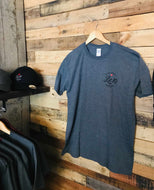 Mens Cotton T- Shirt (60/40 blend of cotton and polyester) in a heather blend Grey with Lot 10 Brewery logo on front and