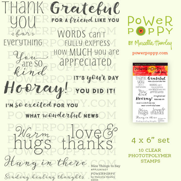 Nice Things To Say Stamp Set Power Poppy By Marcella Hawley