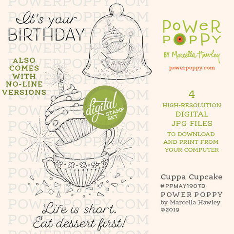 Cuppa Cupcake Digital Stamp Set