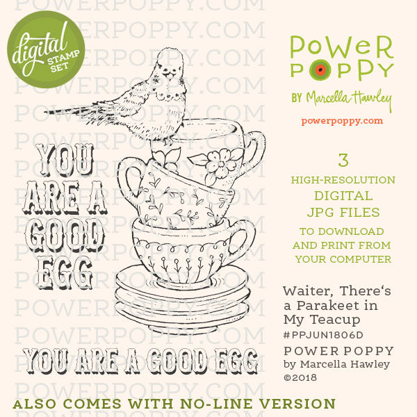 Waiter, There's a Parakeet in My Teacup Digital Stamp Set