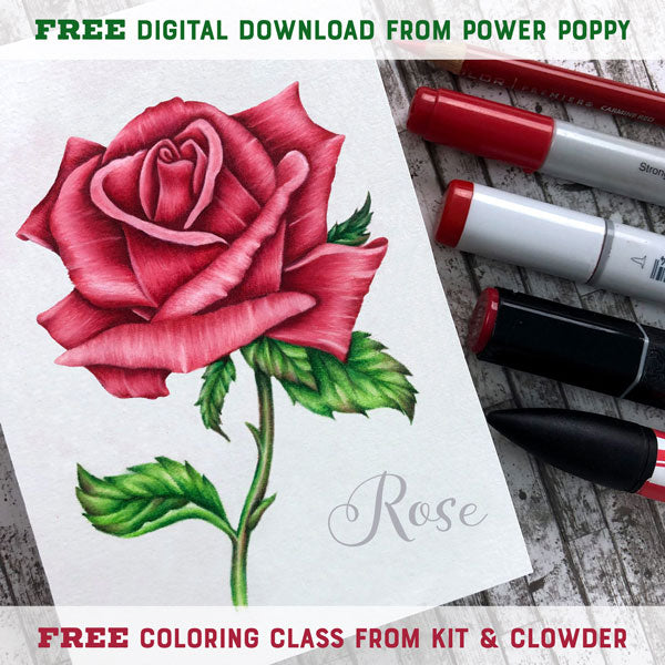 PP Rose digital stamp