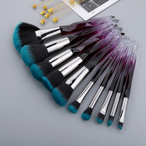 10Pcs Crystal Makeup Brushes Set