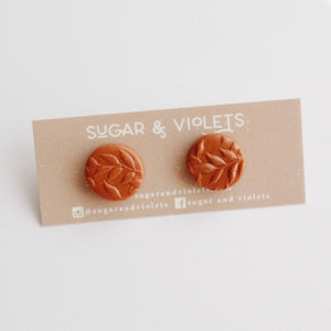 Leaf Texture Clay Stud - Terracotta Orange