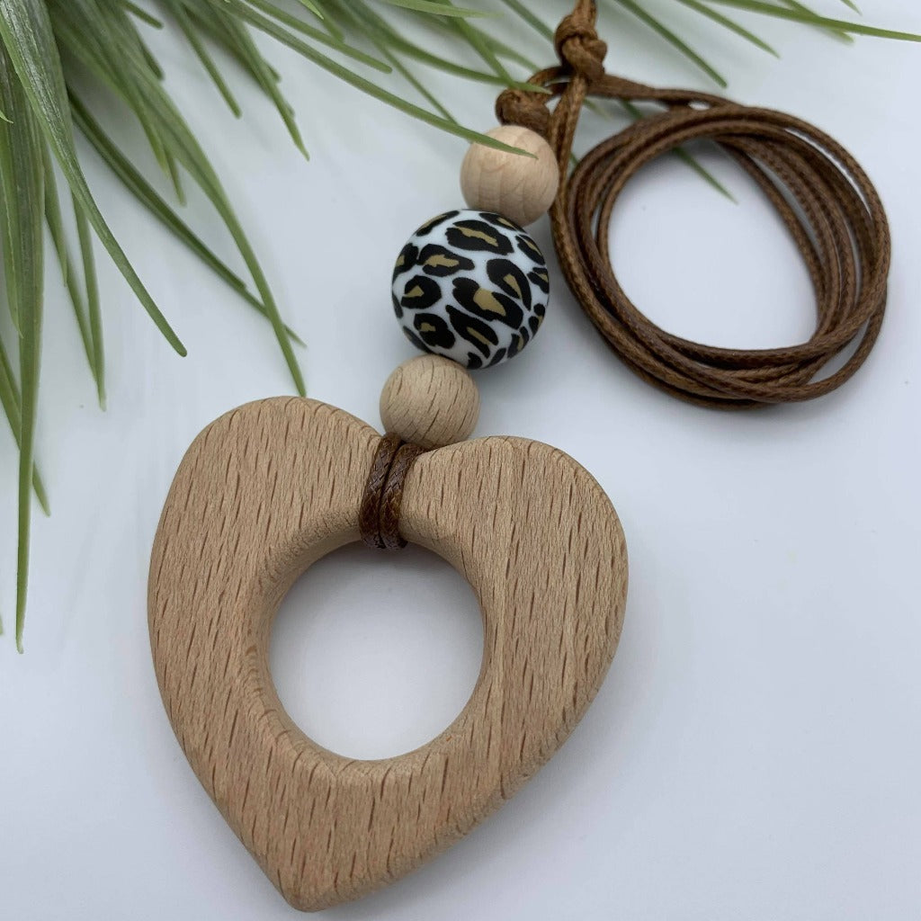 Handmade Silicone/Wooden Heart Pendant Necklace - Leopard