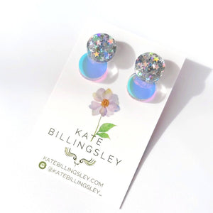 Venn Drop Studs - Holographic Star Glitter over Transparent Holographic