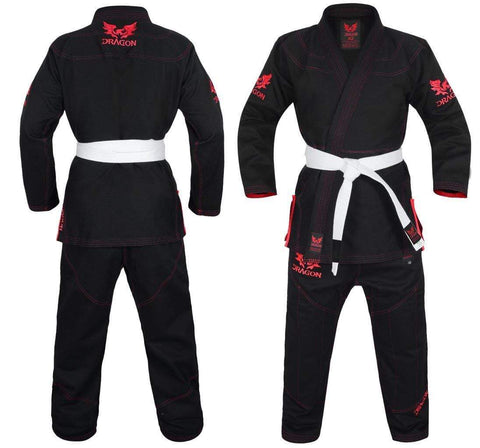Dragon Fightwear Dragon V2 BJJ Gi Black-Red W- Gi Bag