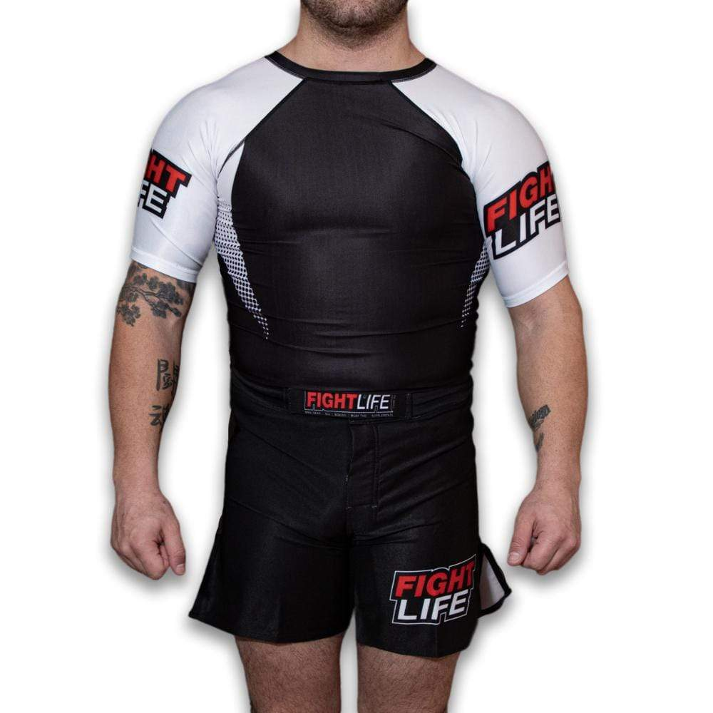 FightLife Apparel S Fight Life Rank Rash White Short Sleeve