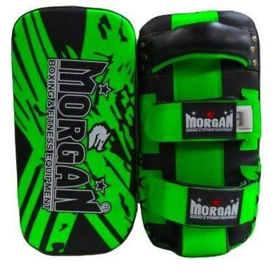 Morgan Thai Pads Curved 'BKK Ready' Leather Pair - Green