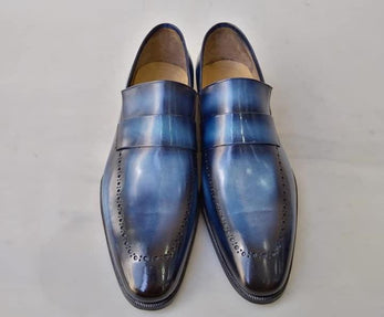 2020 TucciPolo Alvaro Handmade Mens Navy Blue Stylish Italian Leather Loafers