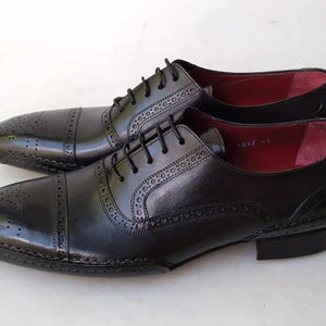 2020 TucciPolo Special Edition Black Handcrafted Captoe Oxford Mens Luxury Italian Leather Shoes