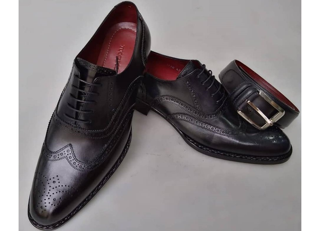 2020 TucciPolo Special Edition Men's Handmade Wingtip Oxford Black Italian Leather Luxury Dress Shoe