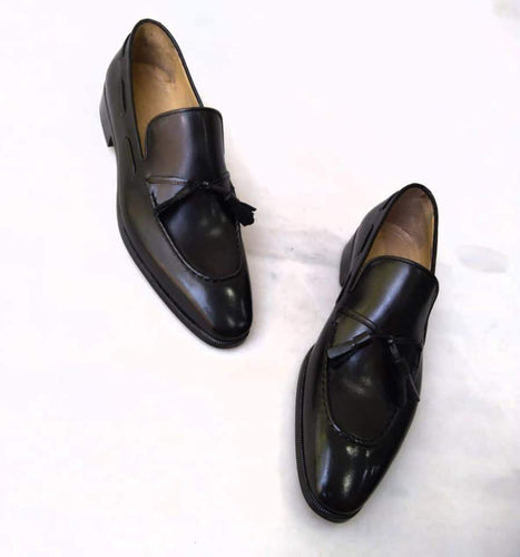 TucciPolo Mens 2020 Black Handcrafted Tassel Italian Calfskin Luxury Loafers