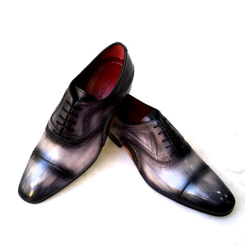 TucciPolo Asper BR Mens Oxfords Black and Gray Handmade Welted Italian Leather Core Luxury Shoe