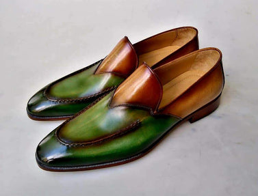 TucciPolo 2020 Mens Special Edition two tone Green & Tan Luxury Handmade Loafers