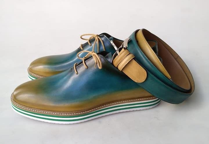 TucciPolo Limited Edition Sporty Handmade Italian Leather Multi-Color Oxford Style Casual Sneaker