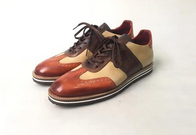 TucciPolo 2020 Limited Edition Sporty Handmade Italian Leather Brown-Tan Casual Sneaker for Men