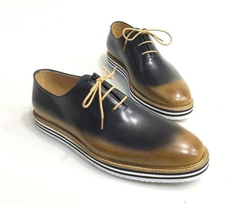 TucciPolo Newest Arrival Mens Sporty Handmade Italian Leather Oxford Blackish Beige Casual Sneaker Dress Shoes