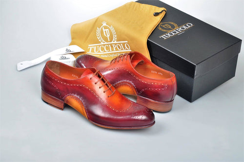 Exquisite Design TucciPolo Prestigiously Handcrafted Burgundy Luxury Oxford Mens Shoes