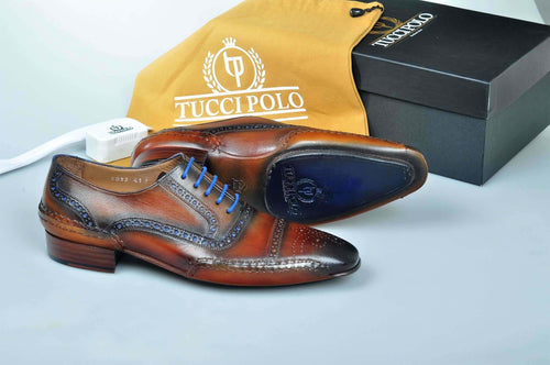 Special Edition TucciPolo Brown & Blue Prestigiously Designed HandWelted Oxford Mens Luxury Shoes