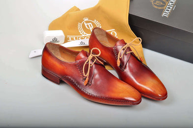 Exquisite Design TucciPolo Prestigiously Handcrafted Burnished Tan Luxury Mens Italian Leather Shoes
