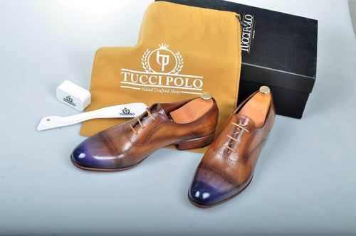 Special Design TucciPolo Prestigiously Handcrafted Brown with Blueish Toe Luxury Oxford Mens Italian Leather Shoes