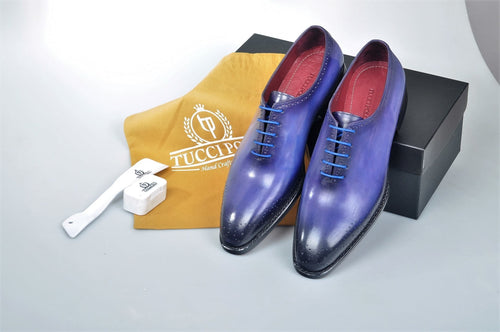 TucciPolo Burnished Royal Blue Alessandro Wholecut handmade Luxury HandWelted Oxford Italian Leather Mens Shoes