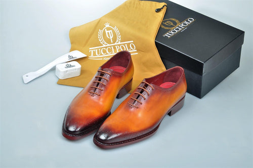 TucciPolo Burnished Tan Alessandro Wholecut handmade Luxury HandWelted Oxford Italian Leather Mens Shoes