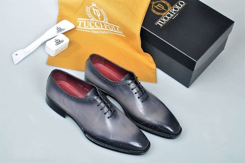 TucciPolo Gray Alessandro Wholecut handmade Luxury HandWelted Oxford Italian Leather Mens Shoes