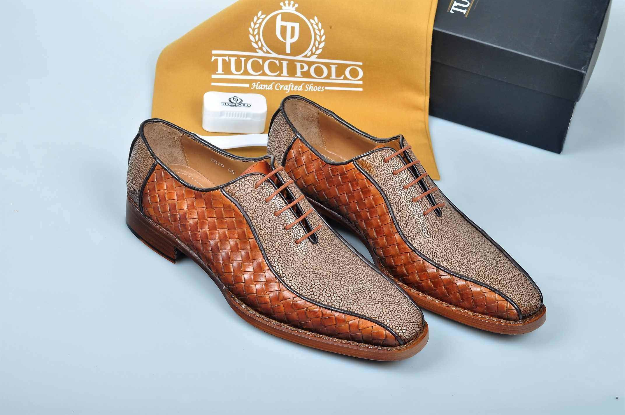 Special Edition TucciPolo Half Genuine Orange Stingray with Weave Leather Prestigiously HandWelted Oxford Mens Luxury Shoes