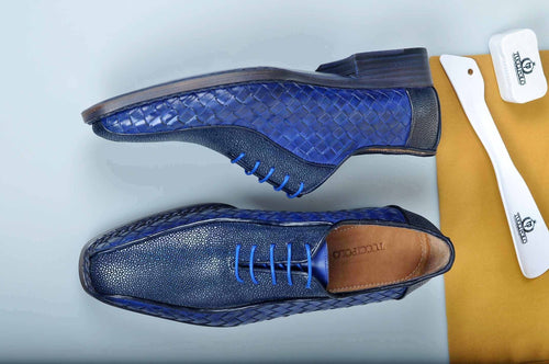 Special Edition TucciPolo Half Genuine Stingray with Blue Weave Leather Prestigiously HandWelted Oxford Mens Luxury Shoes