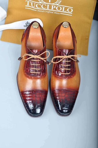 Special Edition TucciPolo Prestigiously Handcrafted Mens Half Aligator Leather with Calf Skin Luxury Cap toe Shoes