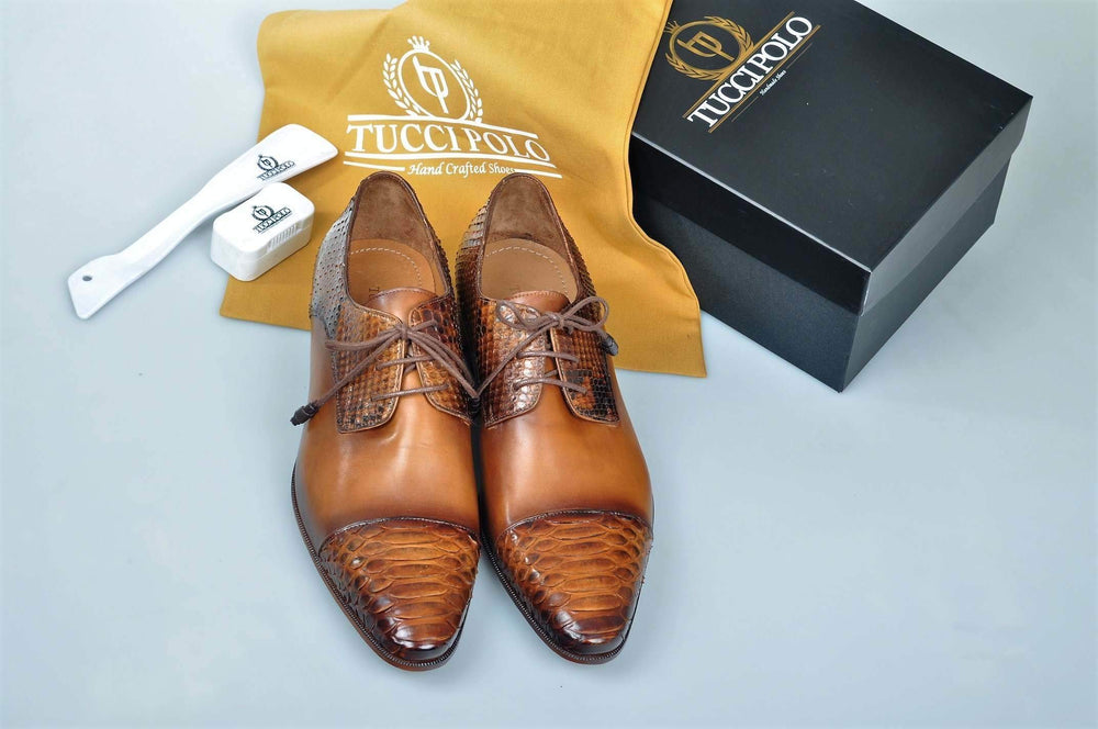 Special Edition TucciPolo Prestigiously Handcrafted Python Exotic Skin Leather Mens Derby Captoe Luxury Shoes