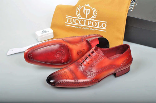 Special Edition TucciPolo Reddish Camel Prestigiously Handcrafted Captoe Oxford Mens Luxury Shoes