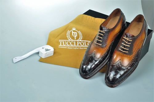Special Edition TucciPolo Two Tone Brown Prestigiously Handcrafted Goodyear Welted Ostrich Leather Oxford Mens Luxury Shoes