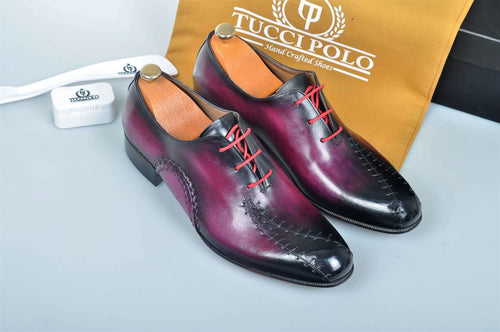 TucciPolo Prestigiously Handcrafted Burnish Purple Luxury Oxford Mens Italian Leather Shoes