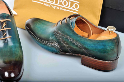TucciPolo Prestigiously Handcrafted Burnished Greenish Brown Luxury Oxford Mens Italian Leather Shoes