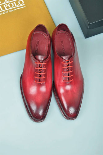 TucciPolo Burgundy Alessandro Wholecut handmade Luxury HandWelted Oxford Italian Leather Mens Shoes