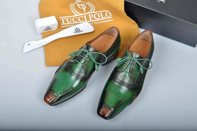 TucciPolo Special Edition Greenish Mens Prestigiously Handcrafted Luxury Italian Leather Shoes