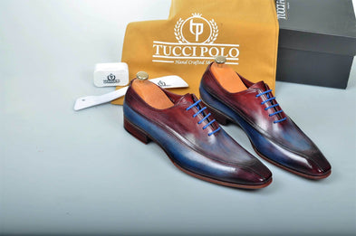 TucciPolo Special Edition Handcrafted Multi tone Luxury Italian Leather Oxford Mens Shoes