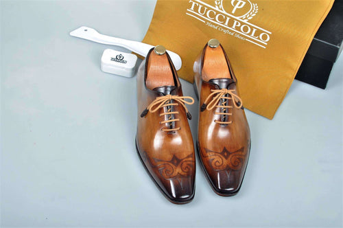TucciPolo Special Edition Mens Prestigiously Handcrafted Brown Luxury Oxford Italian Leather Shoes