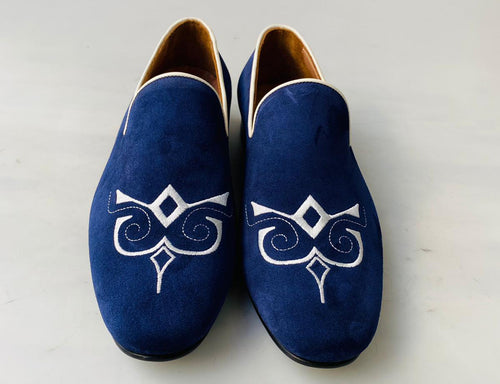 2021 TucciPolo Premium Italian Suede Mens Luxury Blue Slip-on Slippers Loafer Shoe