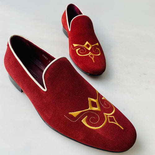 2021 TucciPolo Premium Italian Suede Mens Luxury Red Slip-on Slippers Loafer Shoe