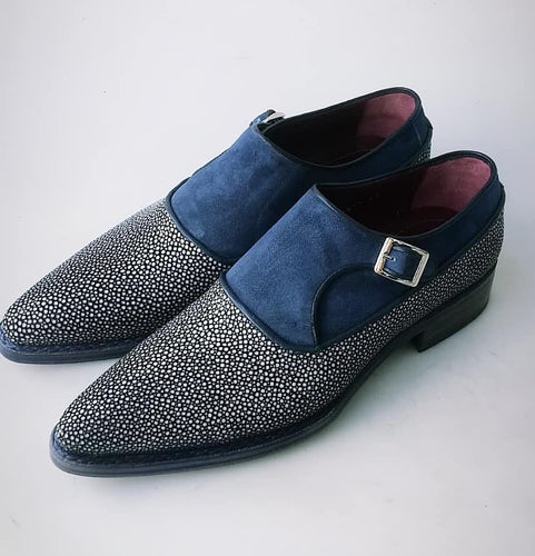 TucciPolo Mens Genuine Blue Stingray with Half Suede HandWelted Handmade Monkstrap Pointed Toe Shoe