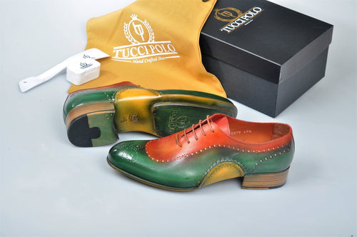 Uniquely Designed TucciPolo Greenish & Prestigiously Handcrafted Oxford Mens Shoes