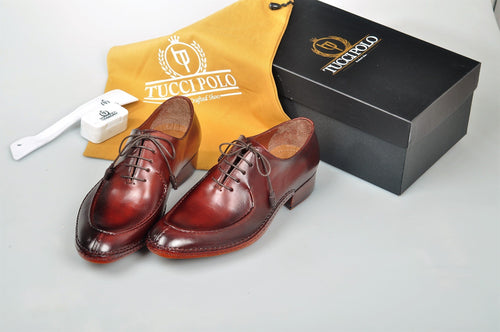 Uniquely Designed TucciPolo Brown & Prestigiously Handcrafted Oxford Mens Luxury Shoes