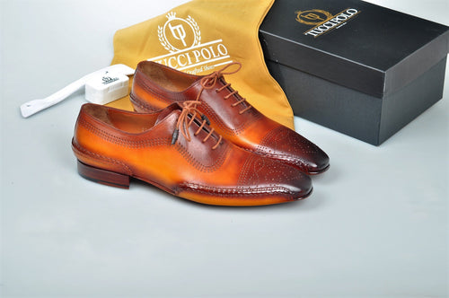 Special Edition TucciPolo Burnish Tan & Prestigiously Designed HandWelted Oxford Mens Luxury Shoes